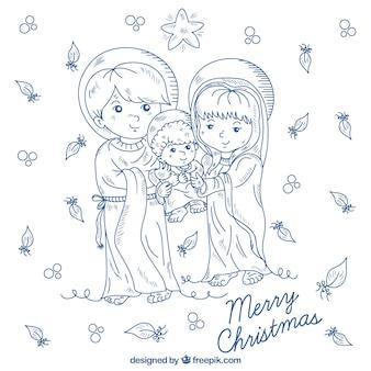 Achtergrond met mooie hand getekende nativity scene