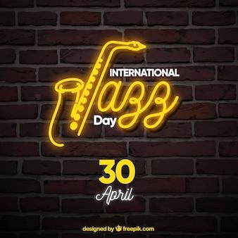 Achtergrond met neon jazz poster