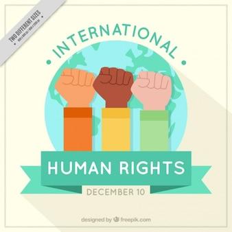 Achtergrond met opgeheven vuisten voor de menselijke dag rechten