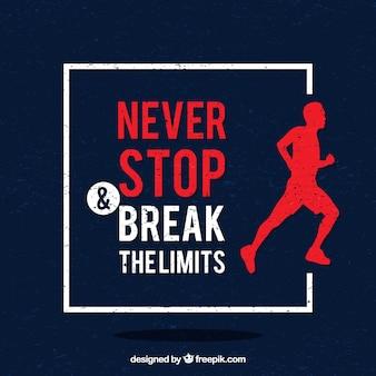 """Achtergrond met runner en motievenuitdrukking """"nooit stoppen en de grenzen te doorbreken"""""""