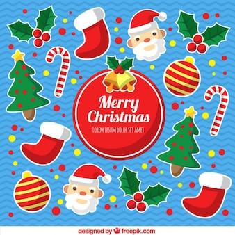 Achtergrond met verschillende kerst elementen
