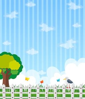 Achtergrond ontwerp met tuin en blauwe hemel