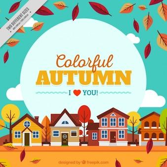 Achtergrond van autumnl landschap met huizen