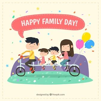 Achtergrond van de familie op een fiets