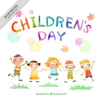 Achtergrond van de hand geschilderd kinderen springen
