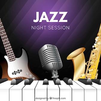 Achtergrond van de jazz muziekinstrumenten