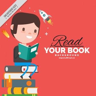Achtergrond van de jongen zittend op een stapel boeken in plat design