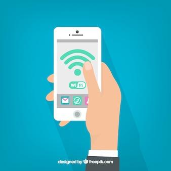 Achtergrond van de man met mobiele en wifi