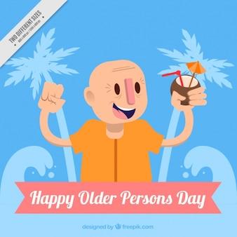Achtergrond van de oudere persoon genieten van het leven