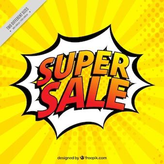 Achtergrond van de super verkoop in komische stijl