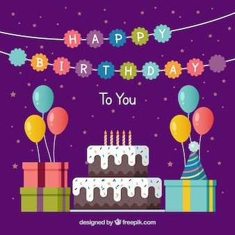 Achtergrond van de verjaardag met taart en cadeautjes in plat design