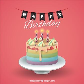 Achtergrond van de verjaardag met taart
