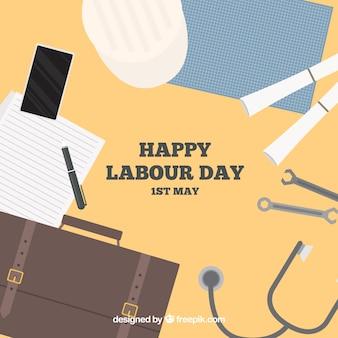 Achtergrond van desktop met voorwerpen voor Dag van de Arbeid