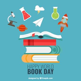 Achtergrond van gelukkige dag wereld boek met decoratieve artikelen