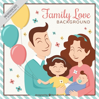 Achtergrond van gelukkige familie met ballonnen