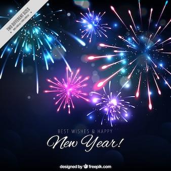 Achtergrond van heldere nieuwe jaar vuurwerk