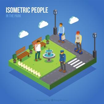 Achtergrond van isometrische mensen in het park