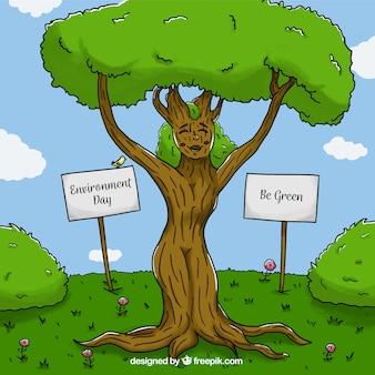 Achtergrond van leuke boom voor dag wereld milieu