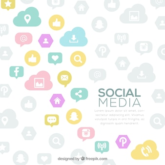 Achtergrond van pastel social networking logos
