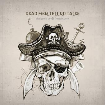 Achtergrond van piraat schedel schets in aquarel
