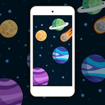 Achtergrond van planeten voor mobiel