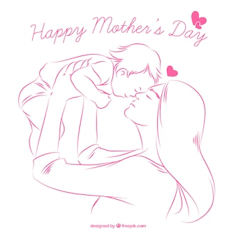 Achtergrond van schets van de gelukkige moeder met baby
