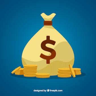 Achtergrond van zak met munten in plat ontwerp