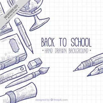 Achtergrond voor terug naar school met de hand getekende elementen