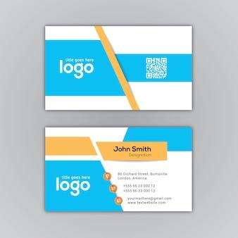 Adreskaartje blauw en wit ontwerp
