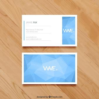 Adreskaartje met blauwe veelhoeken