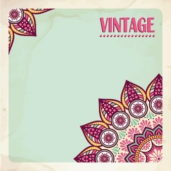 Adreskaartje Vintage decoratieve elementen Hand getekende achtergrond