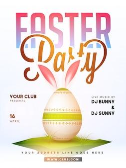 Affiche van de partij van paasei met konijnenoren