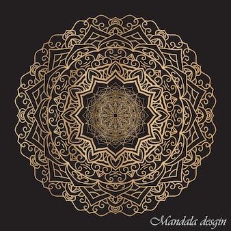 Afgeronde mandala met donkere achtergrond
