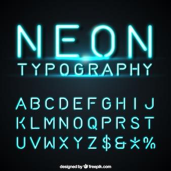 Alfabet gemaakt van neon