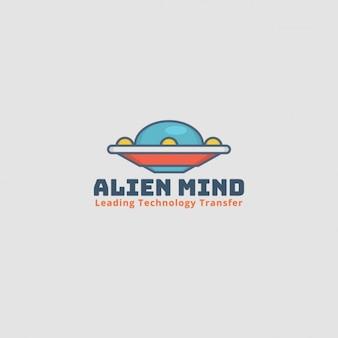Alien logo, grijze achtergrond