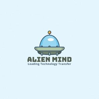 Alien logo op een blauwe achtergrond