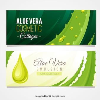 Aloë vera banners met druppels