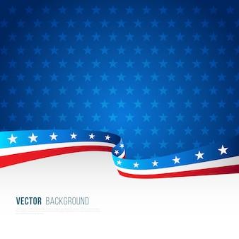 Amerikaanse vlag achtergrond met decoratieve golvende vorm