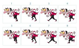Animatie van een grappig cartoon vampier karakter in 8 frames in lus Geïsoleerde vector elementen