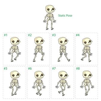 Animatie van het skelet van het lopen Acht rollators 1 statische houding Vector geïsoleerde cartoon characterframes