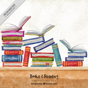 Aquarel achtergrond met kleurrijke boeken