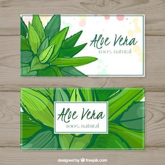 Aquarel aloë vera banners
