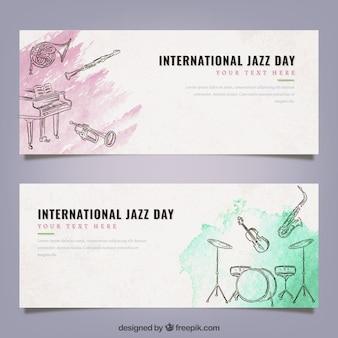 Aquarel banners met jazz muziekinstrumenten