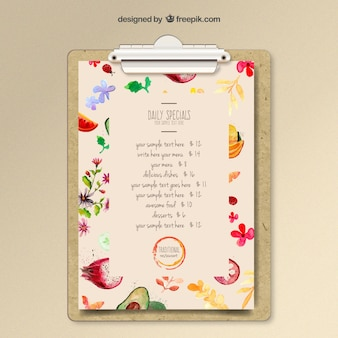 Aquarel menu template