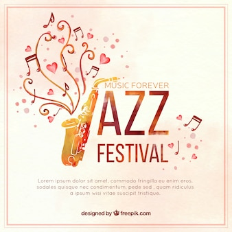 Aquarel saxofoon jazz achtergrond