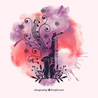 Aquarel splash achtergrond met saxofoon