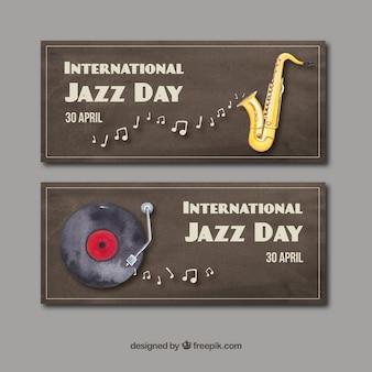 Aquarellen van de internationale jazz-dag