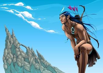 Archer elf kijkt naar de lucht Vector conceptuele illustratie over het gevoel van vrijheid