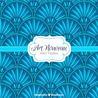 Art nouveau bloemenpatroon in blauwe kleur