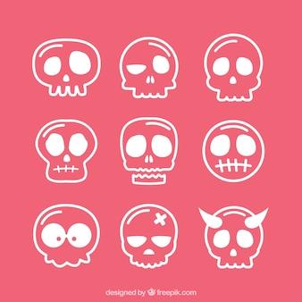 Assortiment hand getekende schedels